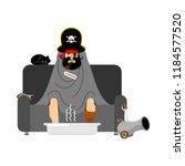 pirate sick sitting in armchair ... | Shutterstock .eps vector #1184577520