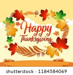 a happy thanksgiving card... | Shutterstock .eps vector #1184584069