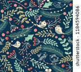 christmas seamless pattern with ... | Shutterstock .eps vector #1184594086