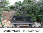 the bench is standing in the... | Shutterstock . vector #1184604760