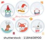 merry christmas animal cartoon... | Shutterstock .eps vector #1184608900