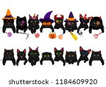 cute black kitties border set...   Shutterstock .eps vector #1184609920