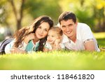 happy mother  father and... | Shutterstock . vector #118461820
