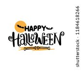 happy halloween hand drawn... | Shutterstock .eps vector #1184618266