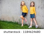 two little girls stand and... | Shutterstock . vector #1184624680