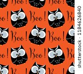 Stock vector halloween seamless pattern with cute owls and boo text 1184626840