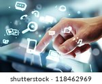 hand touching digital tablet ... | Shutterstock . vector #118462969