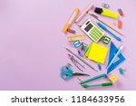 school and office supplies. top ... | Shutterstock . vector #1184633956