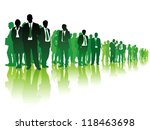 Large Group Of Green People...