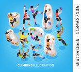 isometric climbing wall... | Shutterstock .eps vector #1184637136