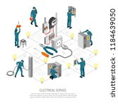 isometric electrician... | Shutterstock .eps vector #1184639050