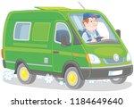 driver in his fast delivery van | Shutterstock .eps vector #1184649640