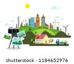 abstract vector city with retro ... | Shutterstock .eps vector #1184652976