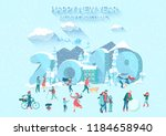 christmas and new year 2019... | Shutterstock .eps vector #1184658940