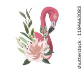 flamingos and flowers 4 vector    Shutterstock .eps vector #1184663083