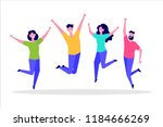 Happy Jumping Group Of People.  ...