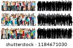 set of a crowd of people flat... | Shutterstock .eps vector #1184671030