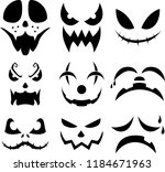 halloween pumpkin faces vector... | Shutterstock .eps vector #1184671963