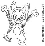 outlined kid in a werewolf... | Shutterstock .eps vector #1184681239