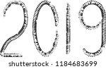 tire tracks . new year 2019.... | Shutterstock .eps vector #1184683699