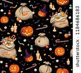seamless pattern   pumpkins and ...   Shutterstock .eps vector #1184686183