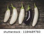 white and dark purple eggplants ... | Shutterstock . vector #1184689783