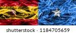spain vs somalia smoke flags... | Shutterstock . vector #1184705659