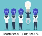 person with a light bulb head... | Shutterstock .eps vector #1184726473