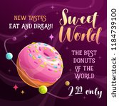 donut planet banner. food space ... | Shutterstock .eps vector #1184739100
