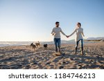 couple running on the beach... | Shutterstock . vector #1184746213