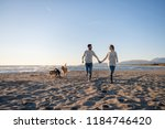 couple running on the beach... | Shutterstock . vector #1184746420