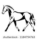 running horse black and white... | Shutterstock .eps vector #1184754763