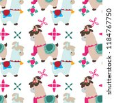 pattern with a funny lama.... | Shutterstock .eps vector #1184767750