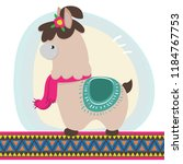 banner with a funny lama | Shutterstock .eps vector #1184767753