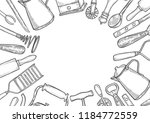 background of kitchen utensils... | Shutterstock .eps vector #1184772559