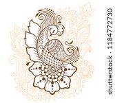 mehndi flower pattern with... | Shutterstock .eps vector #1184772730
