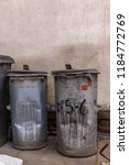 two trash cans of galvanized... | Shutterstock . vector #1184772769