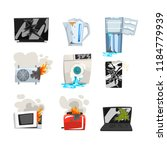 damaged home appliance set ... | Shutterstock .eps vector #1184779939