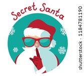 cartoon secret santa christmas... | Shutterstock .eps vector #1184781190