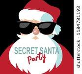 cartoon secret santa invitation ... | Shutterstock .eps vector #1184781193
