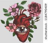 blooming anatomical human heart ... | Shutterstock .eps vector #1184790409