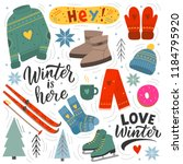 winter set of illustration and... | Shutterstock .eps vector #1184795920