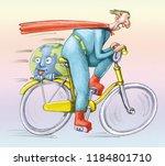 superhero races in bicycle it... | Shutterstock . vector #1184801710