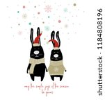 couple of cute rabbits in santa'... | Shutterstock .eps vector #1184808196