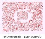 vintage christmas doodles | Shutterstock . vector #1184808910