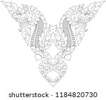 swirl floral naga head and... | Shutterstock .eps vector #1184820730