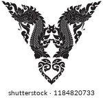 swirl floral naga head and... | Shutterstock .eps vector #1184820733
