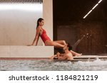 couple in love at luxury hotel... | Shutterstock . vector #1184821219