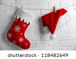Red Santa Claus Hat And Sock...