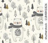 hand drawn cute bear animal... | Shutterstock .eps vector #1184841826